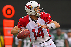 Dec 2, 2012; East Rutherford, NJ, USA; Arizona Cardinals quarterback Ryan Lindley (14) looks to pass during the first half of their game against the New York Jets at MetLIfe Stadium.