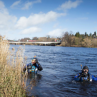 Search and Rescue Operation in Perth…20.03.17 <br />Divers from Police Scotland's Dive and Marine Unit searching the River Tay near Moncrieffe Island in Perth today. Emergency services were alerted to a male spotted in the river at around 4am Saturday 18th March. Police Scotland, Scottish Fire & Recsue Service and HM Coastguard carried out and extensive search throughout Saturday.<br />Picture by Graeme Hart.<br />Copyright Perthshire Picture Agency<br />Tel: 01738 623350  Mobile: 07990 594431