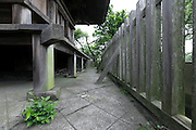 lowest part of an historical wooden three-story Pagoda building Japan