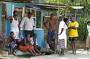 Young men in the capital city of Guyana
