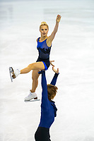 KELOWNA, BC - OCTOBER 25: Russian figure skaters Evgenia Tarasova and Vladimir Morozov compete in the pairs short program of Skate Canada International held at Prospera Place on October 25, 2019 in Kelowna, Canada. (Photo by Marissa Baecker/Shoot the Breeze)