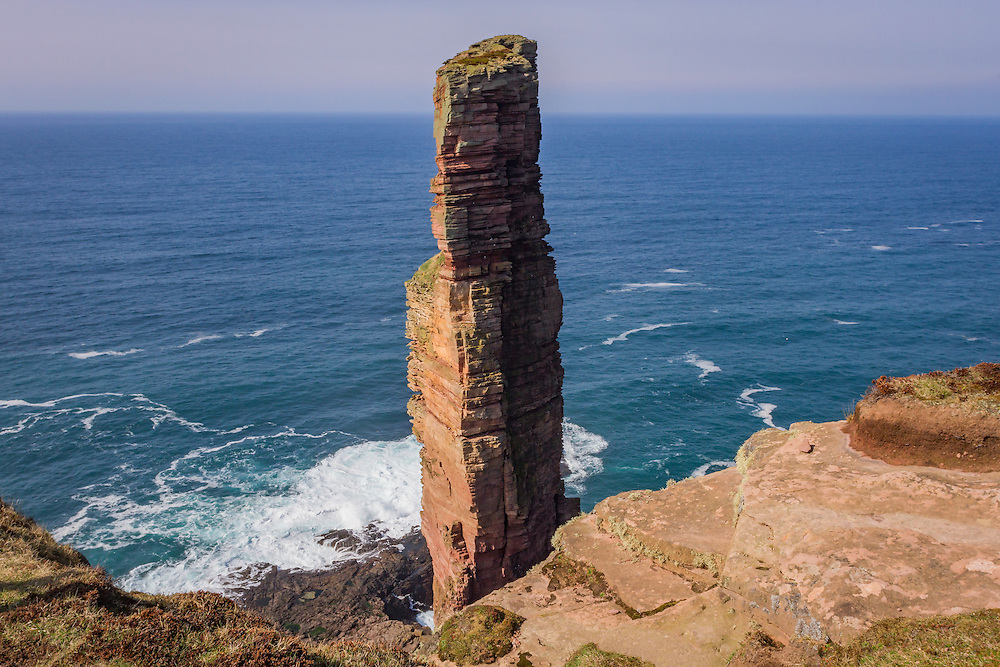 Sandstone seastack of the Old Man of Hoy - some 449ft high, first climbed by Sir Chris Bonnington in 1966.