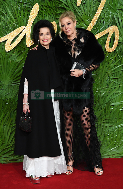 Bianca Jagger and Nadja Swarovski attending the Fashion Awards 2017, in partnership with Swarovski, held at the Royal Albert Hall, London. Picture Credit Should Read: Doug Peters/ EMPICS Entertainment