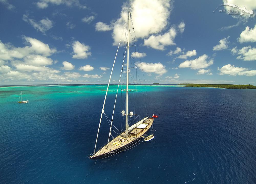The gorgeous S/Y Erica 12, anchored near 'Ovalau island, Vava'u, Tonga
