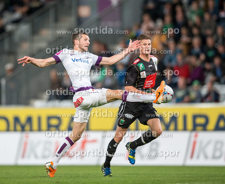 26.04.2014, Tivoli Stadion, Innsbruck, AUT, 1. FBL, FC Wacker Innsbruck vs Austria Wien, 34. Runde, im Bild (v.l.) Alexander Gorgon (FK Austria Wien) gegen Thomas Löffler (FC Wacker Innsbruck) // (v.l.) Alexander Gorgon (FK Austria Wien) gegen Thomas Löffler (FC Wacker Innsbruck) during Austrian Bundesliga 34th round match between FC Wacker Innsbruck and Austria Wien at the Tivoli Stadion in Innsbruck, Austria on 2014/04/26. EXPA Pictures © 2014, PhotoCredit: EXPA/ Johann Groder