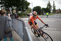 Ellen van Dijk (NED) of Boels-Dolmans Cycling Team leans into the final corner of the penultimate lap around Vårgårda during the 141 km road race of the UCI Women's World Tour's 2016 Crescent Vårgårda women's road cycling race on August 21, 2016 in Vårgårda, Sweden. (Photo by Balint Hamvas/Velofocus)
