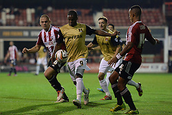 Leyton Orient's Kevin Lisbie takes a shot at goal  - Photo mandatory by-line: Mitchell Gunn/JMP - Tel: Mobile: 07966 386802 23/09/2013 - SPORT - FOOTBALL -  Griffin Park - London - Brentford v Leyton Orient - Sky Bet League One