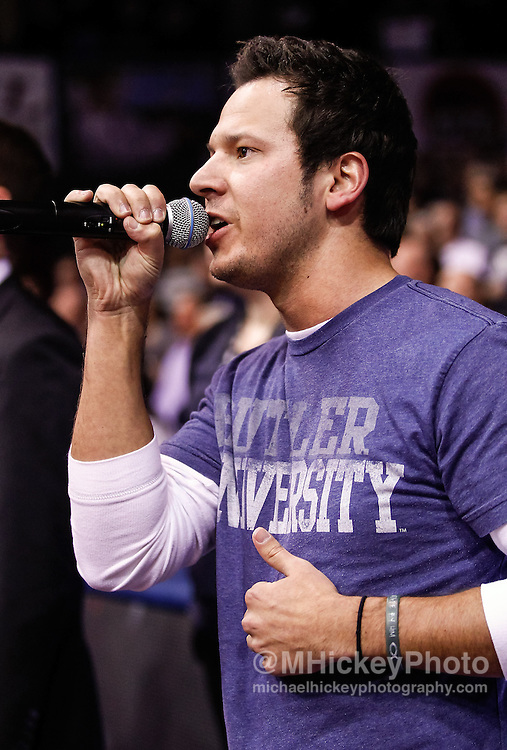 INDIANAPOLIS, IN - JANUARY 19: Country music singer Corey Cox performs the National Anthem before the game between the Butler Bulldogs and Gonzaga Bulldogs at Hinkle Fieldhouse on January 19, 2013 in Indianapolis, Indiana. Butler defeated Gonzaga 64-63. (Photo by Michael Hickey/Getty Images) *** Local Caption *** Corey Cox
