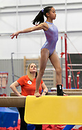 Claudia Lessig trains for Level 9 gymnastics at World Champions Centre with coaches Laurent and Cecile Landi.(Alan Lessig/Staff)