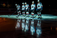 KELOWNA, CANADA - FEBRUARY 24: Kelowna Rockets' starting line up reflects in the ice against the Kamloops Blazers  on February 24, 2018 at Prospera Place in Kelowna, British Columbia, Canada.  (Photo by Marissa Baecker/Shoot the Breeze)  *** Local Caption ***