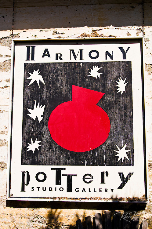 Sign at the Harmony Pottery Studio, Harmony, California