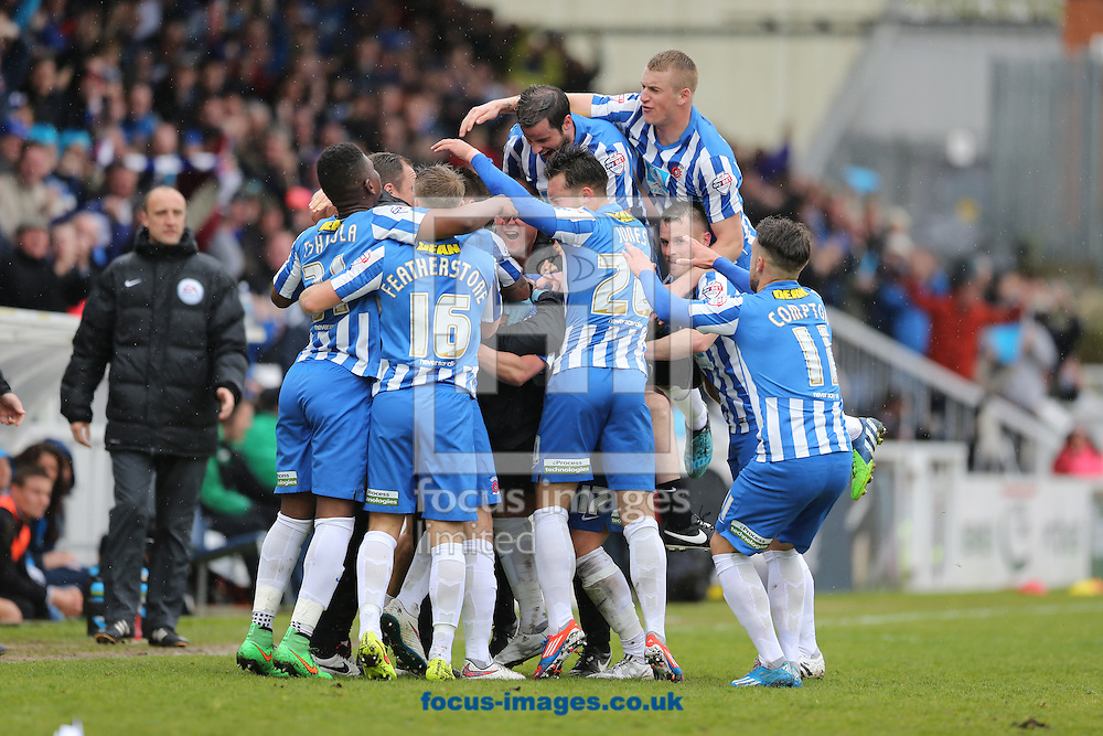 Hartlepool United celebrate scoring the opening goal during the Sky Bet League 2 match at Victoria Park, Hartlepool<br /> Picture by Simon Moore/Focus Images Ltd 07807 671782<br /> 25/04/2015