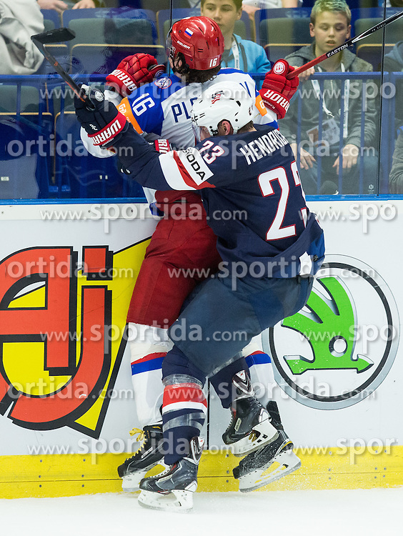 Sergei Plotnikov of Russia and Matt Hendricks of USA during Ice Hockey match between Russia and USA at Day 4 in Group B of 2015 IIHF World Championship, on May 4, 2015 in CEZ Arena, Ostrava, Czech Republic. Photo by Vid Ponikvar / Sportida