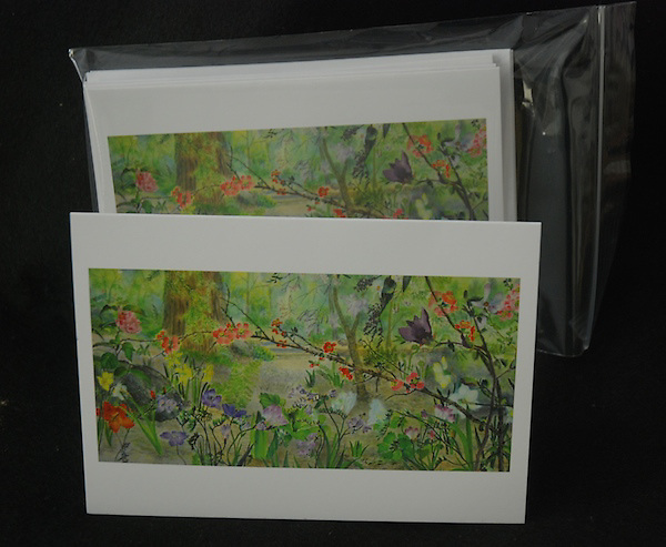 Single card with envelope in a crystal clear bag - $3.50, Package of five cards (all the same) with envelopes in a ziplock bag - $13.50.<br />