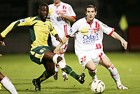 Fotball<br /> Frankrike<br /> Foto: Dppi/Digitalsport<br /> NORWAY ONLY<br /> <br /> FOOTBALL - FRENCH CHAMPIONSHIP 2006/2007 - LEAGUE 1 - AS NANCY LORRAINE v FC NANTES - 21/10/2006 - BENJAMIN GAVANON (NANCY) / EMERSE FAE (NANTES)