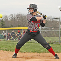 Maple Groves Elizabeth Harrison watches the ball during the fouth inning against Jamestown 5-10-16 photo by Mark L. Anderson