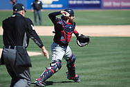 March 18, 2018 - Las Vegas, NV, U.S. - LAS VEGAS, NV - MARCH 18: Eric Haase (71) of the Indians makes a throw to first base during a game between the Chicago Cubs and Cleveland Indians as part of Big League Weekend on March 18, 2018 at Cashman Field in Las Vegas, Nevada. (Photo by Jeff Speer/Icon Sportswire) (Credit Image: © Jeff Speer/Icon SMI via ZUMA Press)