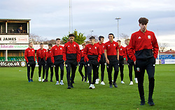 RHYL, WALES - Wednesday, November 14, 2018: Wales players arrive before the UEFA Under-19 Championship 2019 Qualifying Group 4 match between Wales and Scotland at Belle Vue. (Pic by Paul Greenwood/Propaganda)