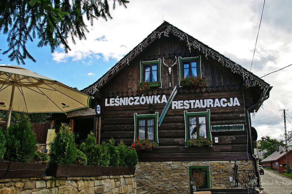 A small rural restaurant in the village of Istebna in Poland overlloks the Silesian Beskids mountain range.