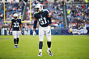 NASHVILLE, TN - NOVEMBER 29:  David Bass #51 of the Tennessee Titans at the line of scrimmage during a game against the Oakland Raiders at Nissan Stadium on November 29, 2015 in Nashville, Tennessee.  The Raiders defeated the Titans 24-21.  (Photo by Wesley Hitt/Getty Images) *** Local Caption *** David Bass