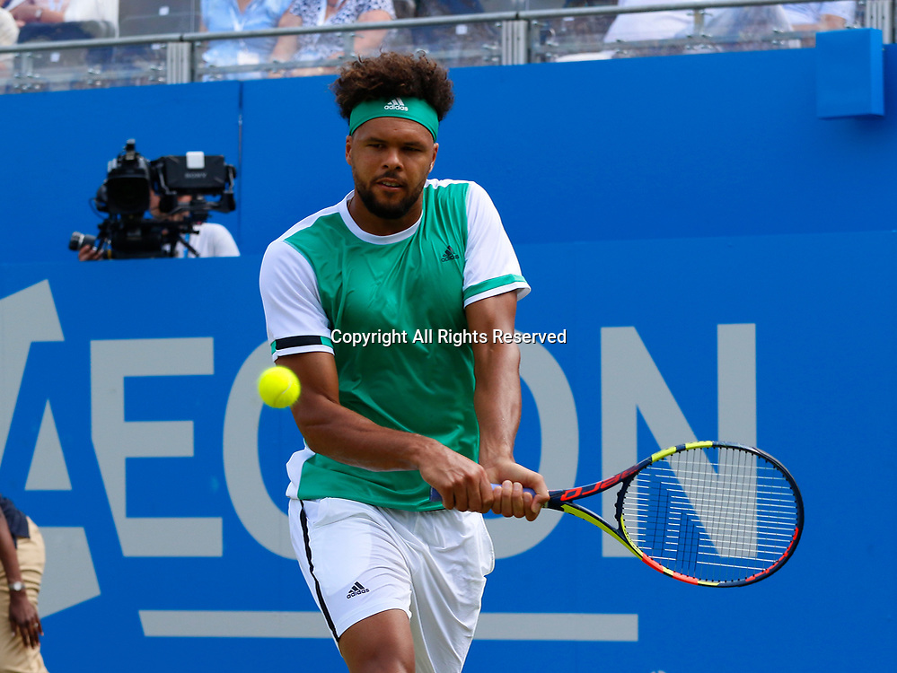 June 21st 2017, Queens Club, West Kensington, London; Aegon Tennis Championships, Day 3; Number five seed Jo-Wilfried Tsonga (FRA) hits a backhand during his second round defeat against Gilles Muller (LUX)