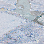 Frozen river in Borgarfjörður, Iceland.