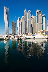 Daytime view of skyscrapers at Marina District in Dubai United Arab Emirates