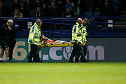 Martin Cranie of Luton Town gets stretchered off the pitch during the EFL Sky Bet Championship match between Sheffield Wednesday and Luton Town at Hillsborough, Sheffield, England on 20 August 2019.