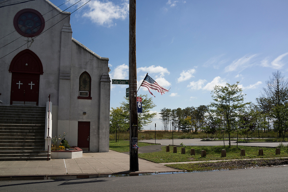 A church at the intersection of Garibaldi Ave and Cedar Grove Ave in the New Dorp Beach neighborhood of Staten Island, NY on Monday, Oct. 5, 2015, weeks ahead of the three year anniversary of Hurricane Sandy.<br /> <br /> Andrew Hinderaker for The Wall Street Journal<br /> NYSTANDALONE