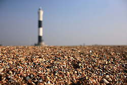 UK ENGLAND DUNGENESS 24MAR12 - The new lighthouse at Dungeness shingle beach on the Kent coast. It is the  largest area of open shingle in Europe, measuring 12 km by 6 km, which has been deposited by the sea and built up over thousands of years.....jre/Photo by Jiri Rezac....© Jiri Rezac 2012