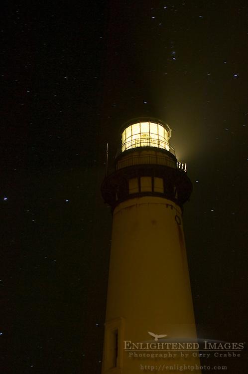 Pigeon Point Lighthouse at night, San Mateo County coast, California