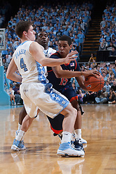07 February 2009: Virginia Cavaliers guard Sylven Landesberg (15) defended by North Carolina guard Bobby Frasor (4) during a 76-61 loss to the North Carolina Tar Heels at the Dean Smith Center in Chapel Hill, NC.