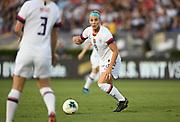 United States midfielder Julie Ertz (8) kicks the ball in an international friendly women's soccer match, Saturday, Aug. 3, 2019,  in Pasadena, Calif., The U.S. defeated Ireland 3-0. (Dylan Stewart/Image of Sport)