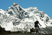 Don Thomas cycles over a 15,000 pass in the Andes - Parque Huascaran - Cordillera Blanca - Peru - South America