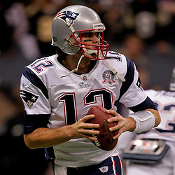 2009 November 30: New England Patriots quarterback Tom Brady (12) during warm ups prior to kickoff of a 38-17 win by the New Orleans Saints over the New England Patriots at the Louisiana Superdome in New Orleans, Louisiana.