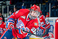 KELOWNA, CANADA -JANUARY 29: Dominic Zwerger LW #22 of the Spokane Chiefs takes a shot during warm up against the Kelowna Rockets on January 29, 2014 at Prospera Place in Kelowna, British Columbia, Canada.   (Photo by Marissa Baecker/Getty Images)  *** Local Caption *** Dominic Zwerger;