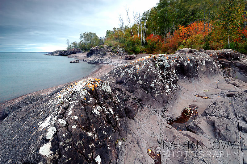 Tempereance River State Park shoreline in autumn;  Tofte, Minnesota.