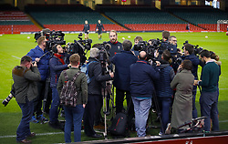 Wales' Alun Wyn Jones speaks to the media during the captain's run at the Principality Stadium, Cardiff.