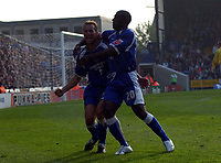 Photo: Olly Greenwood.<br />Crystal Palace v Cardiff City. Coca Cola Championship. 14/10/2006. Cardiff's Riccardo Scimeca celebrates scoring the winning goal with Kevin Campbell