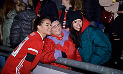 NEWPORT, WALES - Thursday, April 4, 2019: Wales' Ffion Morgan with her grandmother after an International Friendly match between Wales and Czech Republic at Rodney Parade. The game ended in a 0-0 draw. (Pic by David Rawcliffe/Propaganda)