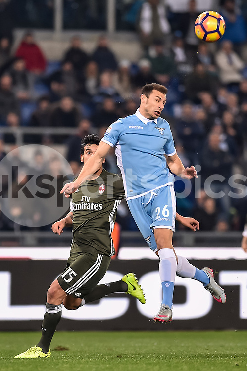 Ştefan Radu of Lazio and Gustavo Gómez of AC Milan during the Serie A match between Lazio and AC Milan at Stadio Olimpico, Rome, Italy on 13 February 2017. Photo by Giuseppe Maffia.
