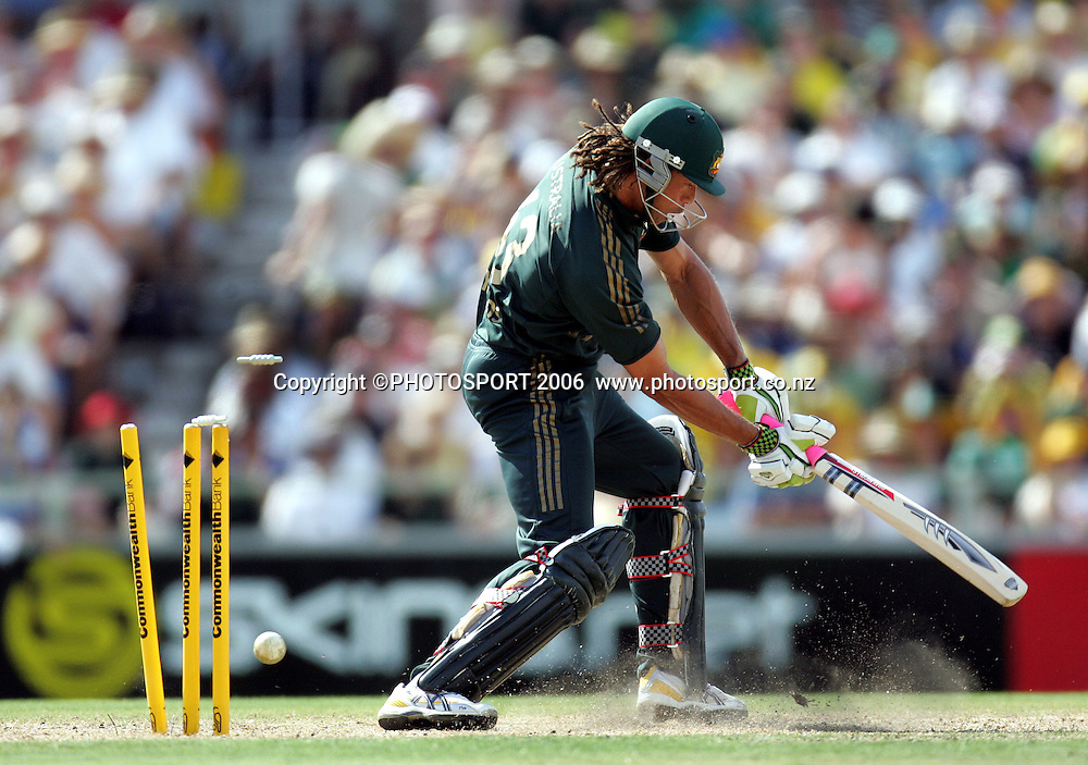 Australia's Andrew Symonds is clean bowled by Mark Gillespie during the one day international cricket match between New Zealand and Australia at the WACA ground in Perth on Sunday 28 January, 2007. Australia made 343/5 after winning the toss and batting first and in reply New Zealand scored 335/5. Australia won by 8 runs. Photo: Andrew Cornaga/PHOTOSPORT<br /><br /><br /><br />280107