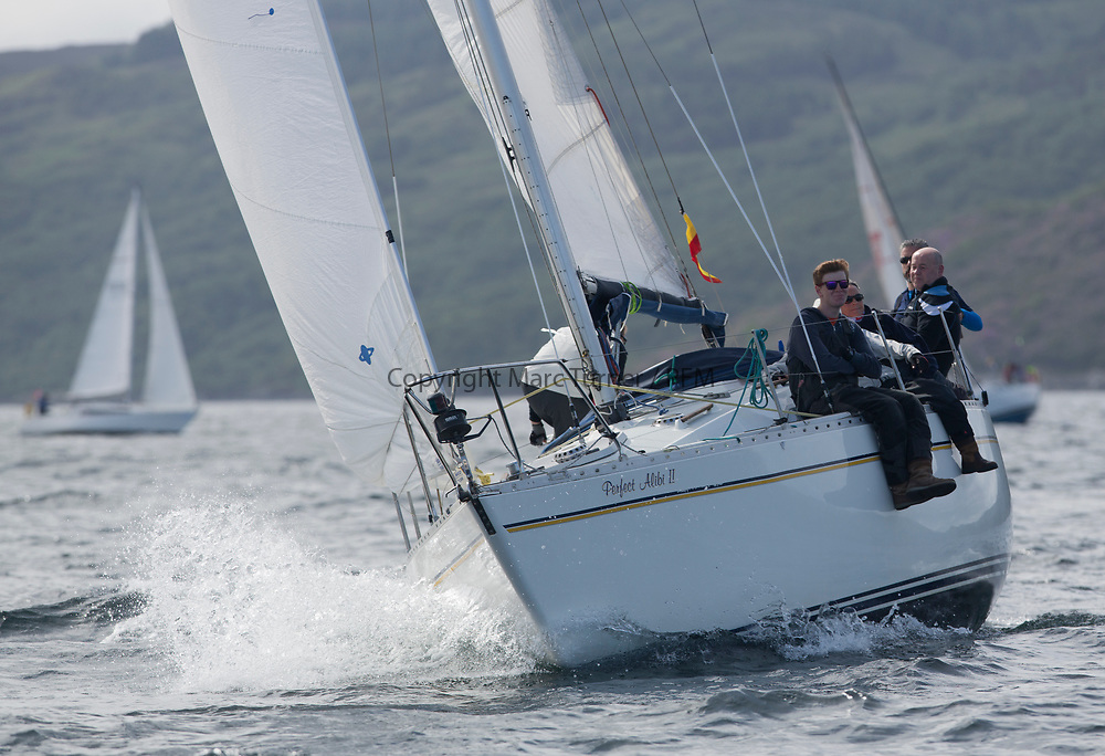 Silvers Marine Scottish Series 2017<br /> Tarbert Loch Fyne - Sailing<br /> <br /> GBR2113C, Perfect Alibi II, David McGonigle, Fairlie YC, Moody 31 MkII<br /> <br /> Credit: Marc Turner / CCC