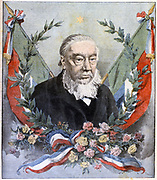 (Stephanus Johannes) Paulus Kruger (1825-1904) known as Oom Paul. South African politician. In 2nd Boer War (1899-1900), Kruger was too old and unwell to cope with guerrilla warfare and found refuge in Holland. Homage to Kruger from 'Le Petit Journal', Paris, 2 December 1900
