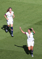2019?6?17?.   ???????????——F??????????.    6?16??????????????????????????? .    ?????????????????2019??????????F??????????3?0??????.   ?????????..(1906017) -- PARIS, June 17, 2019  Carli Lloyd (R) of the United States celebrates her first goal during the Group F match between the United States and Chile at the 2019 FIFA Women's World Cup in Parc des Princes in Paris, France, June 16, 2019.  The United States won 3-0. (Credit Image: © Xinhua via ZUMA Wire)