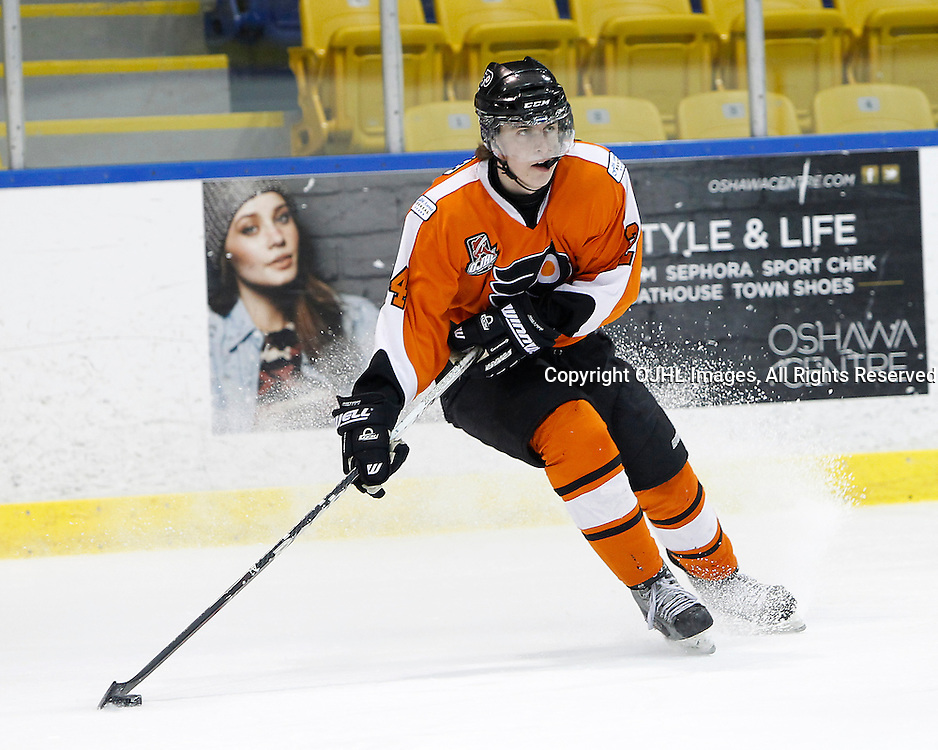 Whitby, ON - Feb 11 : Ontario Junior Hockey League game action between the Whitby Fury and the Orangeville Flyers. Orangeville Flyers Scott Goodman #24 during first period game action.<br /> (Photo by Tim Bates / OJHL Images)