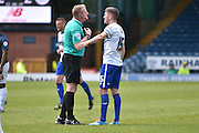 Bury Forward, Ryan Lowe is spoken to by the referee during the Sky Bet League 1 match between Bury and Southend United at the JD Stadium, Bury, England on 8 May 2016. Photo by Mark Pollitt.