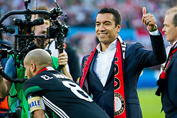 Karim El Ahmadi of Feyenoord, coach Giovanni van Bronckhorst during the Dutch Toto KNVB Cup Final match between AZ Alkmaar and Feyenoord on April 22, 2018 at the Kuip stadium in Rotterdam, The Netherlands.