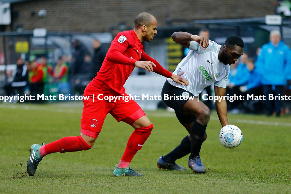 Dover's defender Femi Ilesanmi on the ball during the The FA Trophy match between Dover Athletic and Leyton Orient at Crabble Stadium, Kent on 3 February 2018. Photo by Matt Bristow.