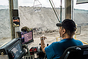 From the four story high cab the operator controls the Bucyrus 8200 Dragline at the BNI Coal Center Mine in Center, North Dakota.